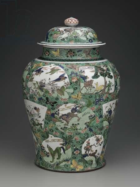 Jiangjunguan-shaped jar with overglaze enamel (wucai) decoration of auspicious images over green ground (porcelain)