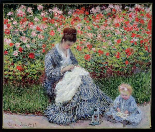 Camille Monet and a Child in the Artist's Garden in Argenteuil, 1875 (oil on canvas)