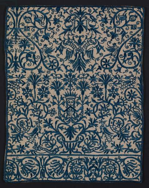 One face of a cushion cover, Crete, 18th or 19th century (linen & cotton plain weave, embroidered with silk)