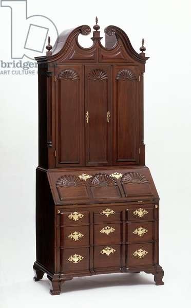 Desk and bookcase, 1760–-75 (mahogany, chestnut, pine & cherry wood)