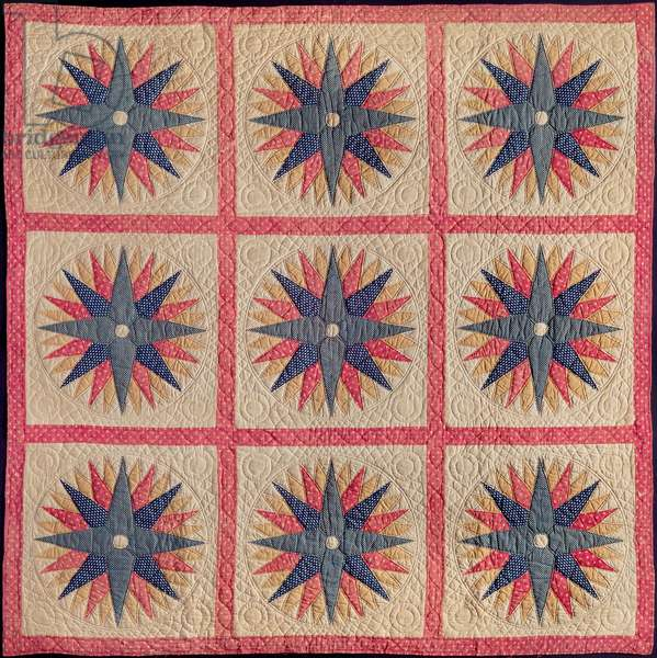 Mariner's compass bed quilt, 1840-–50 (cotton)