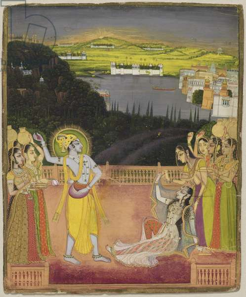 Krishna Celebrates Holi with Radha and the Gopis, from Kishangarh, Rajasthan, c.1755 (opaque w/c and gold on paper)