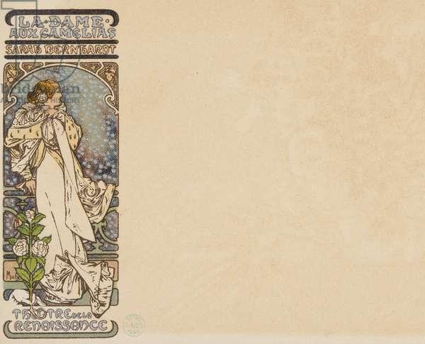 La Dame aux Camelias/ Sarah Bernhardt/ Theatre de la Renaissance (colour litho)