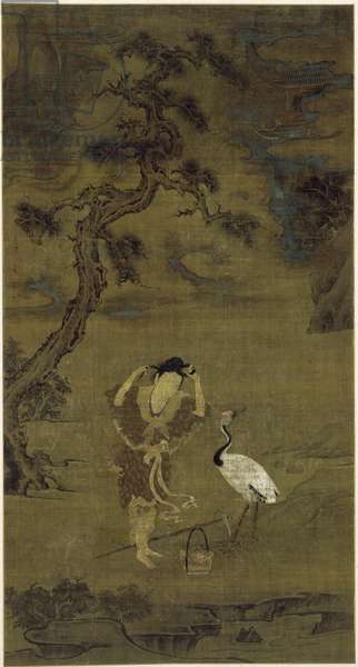 The Daoist Immortal Magu with a Crane and Flower Basket, Yuan Dynasty (ink, colour and gold on silk)