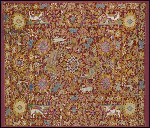 Cover, late 17th to early 18th century (wool, silk, cotton, & linen interlocked and dovetailed tapestry)