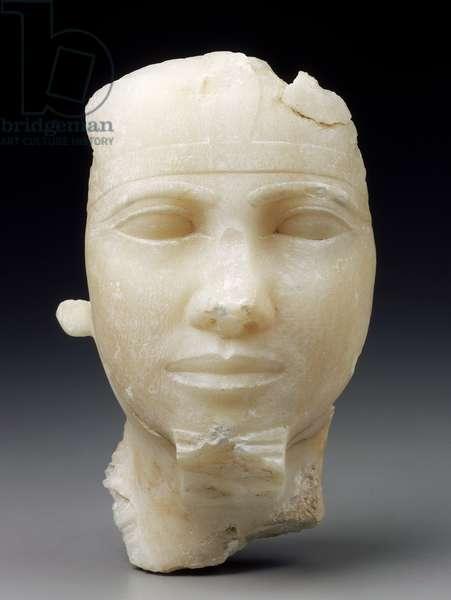 Head of King Khafra, Old Kingdom, Dynasty 4, reign of Khafra, 2520-–2494 B.C. (travertine)