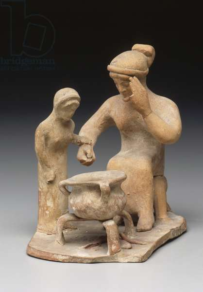 Woman cooking, watched by a girl, Archaic Period, c.500-475 BC (terracotta)