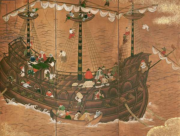 Southern Barbarians (Nanbanjin) at a Japanese Port (ink, colour and gold on paper) (detail of 711710)