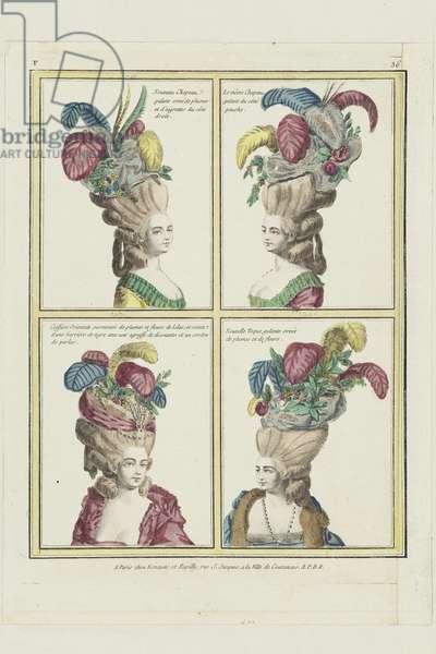 Hairstyles from 'Gallerie des Modes et Costumes Francais, 6e Cahier de Modes Francaises pour les Coeffures despuis 1776, no.36', published by Esnauts et Rapilly, Paris, 1778 (hand-coloured engraving)