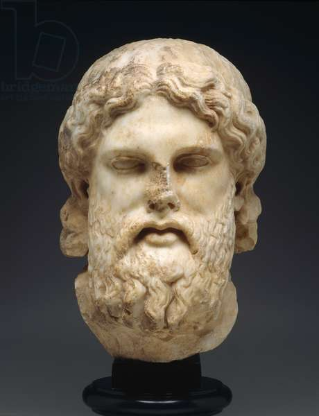 Head of Zeus, Late Classical Period, 350-340 BC (marble)