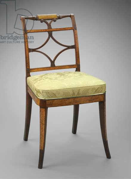 Side chair, one of a pair, 1804–-10 (mahogany, crotch-satinwood or birch veneer, birch & textile)