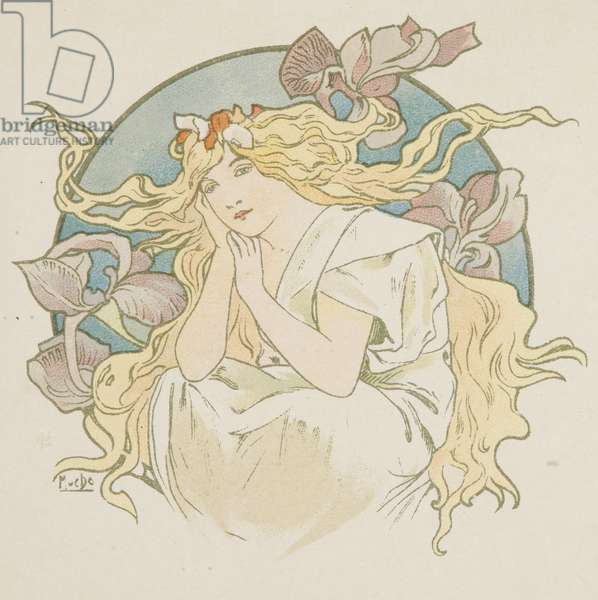 Languid Woman (colour litho)