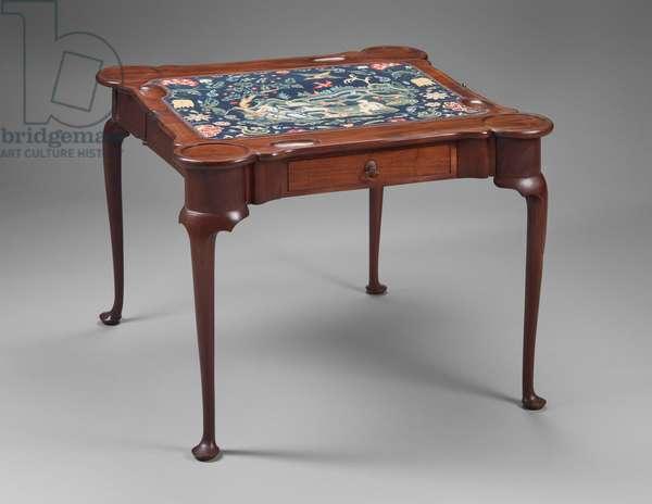 Card table, 1730-–50 (mahogany, chestnut, eastern white pine & needlework)