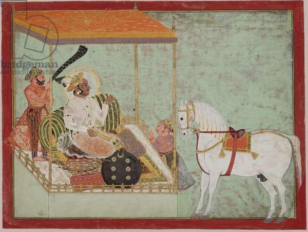Arjun Singh of Kota admiring a horse, c.1720 (opaque w/c & gold on paper)