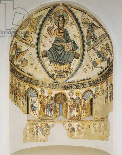 Christ in Majesty with Symbols of the Four Evangelists, 1150-1200 (fresco secco transferred to plaster and wood)