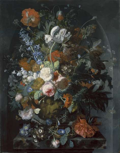 Vase of Flowers in a Niche, c.1734 (oil on panel)