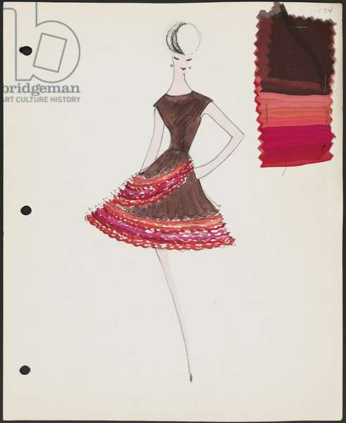 Page from sketchbook, Fall 1961, 1961 (w/c & pencil on paper with fabric)