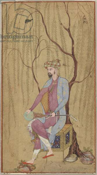 An Elegant Man Seated under a Willow Tree, possibly from Lahore, Northern India or Pakistan, c.1600-05 (opaque w/c & gold on paper)