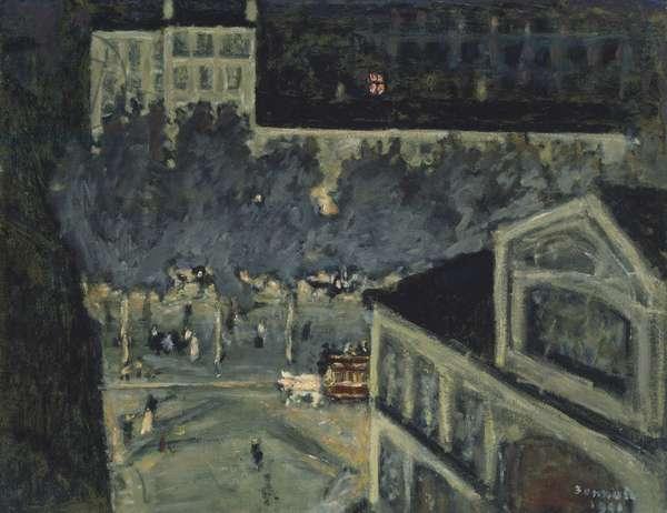 Paris Boulevard at Night, 1900 (oil on paperboard)