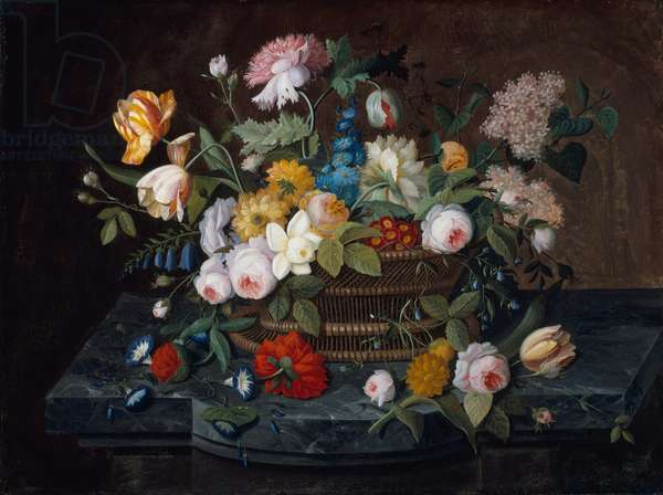 Still Life - Flowers in a Basket, 1850s (oil on canvas)