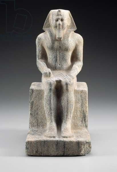 Unfinished statuette of King Menkaura, Old Kingdom, Dynasty 4, reign of Menkaura, 2490-–2472 B.C. (anorthosite gneiss)