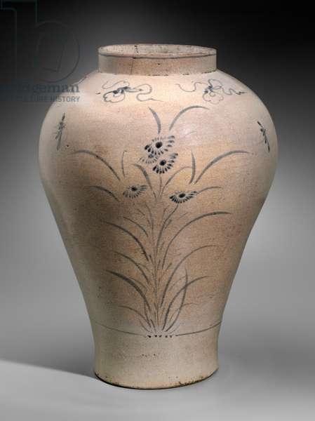 Jar with orchid design, Joseon dynasty (white porcelain with underglaze cobalt blue decoration)