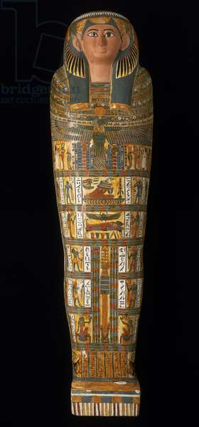 Inner coffin of Nesmutaatneru, from the Temple of Hatshepsut, Deir el-Bahari, Thebes, Late Period (c.760-660 BC) (plastered linen over wood)