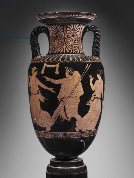 Two-Handled Jar with Hippodameia preparing for her wedding, c.425 BC (ceramic)