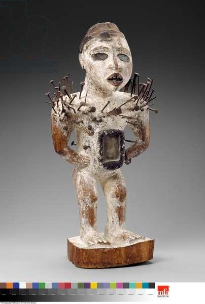 Power figure (nkisi nkondi) (Wood, glass, iron nails, pigment, sacred material)