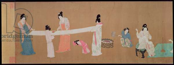Court Ladies Preparing Newly Woven Silk: Women combing and spinning silk, Northern Song dynasty, early 12th century (detail) (ink, colour & gold on silk)