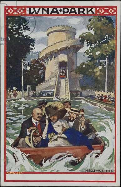 The Water Slide, Luna Park, 1910 (colour litho)