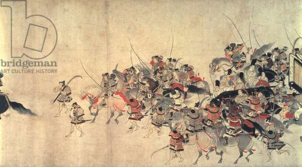 Night Attack on the Sanjo Palace, from Illustrated Scrolls of the Events of the Heiji Era (Heiji mongatari emaki) Kamakura period, found in Japan, 2nd half of 13th century (ink & colourdon paper)