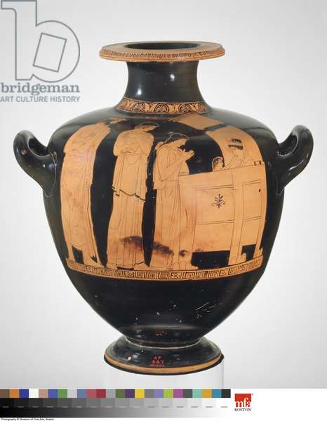 Water jar (hydria) with myth of Danae and Perseus, from Athens, Greece, Classical Period, c.450-440 BC (ceramic)