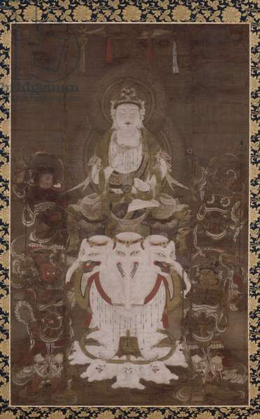 Fugen enmei, the Bodhisattva of Universal Virtue who Prolongs Life (ink, colour, gold & silver on silk)