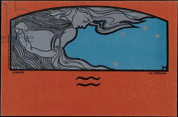 January, The Aquarius, 1898 (colour litho)