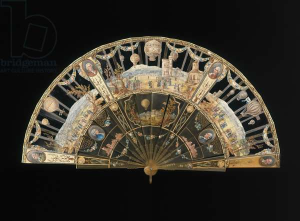 Folding fan depicting scenes from the history of ballooning, c.1785 (molded horn & skin leaf painted with gouache)