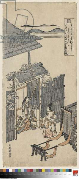 The Yûgao Chapter of the Tale of Genji, c.1760 (woodblock print)