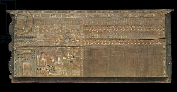 Interior of the front side panel of outer coffin of Djehutynakht (cedar)