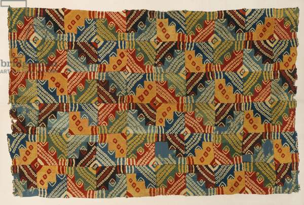 Mantle, 700-900 (wool plain weave with discontinuous warps & wefts, disassembled, tie-dyed, and reassembled)
