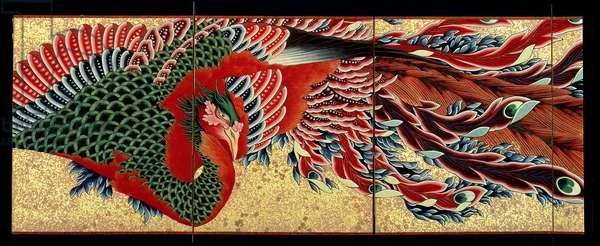 Phoenix, 8-panel folding screen, Edo Period, Japan 1835 (Tenpo 6) (ink, colour cut gold-leaf & sprinkled gold on paper)