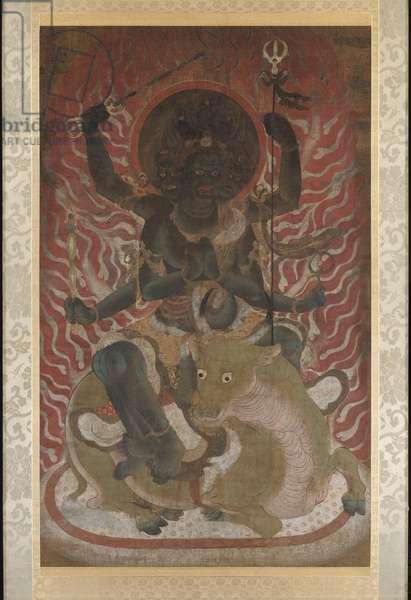 Daiitoku myôô, the Wisdom King of Great Awe-inspiring Power (ink, colour, gold & silver on silk)