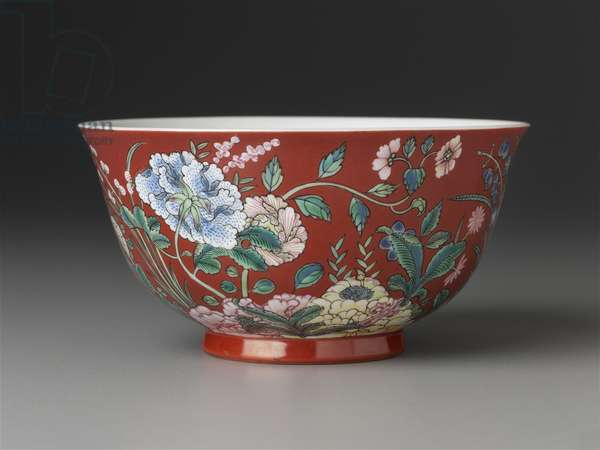 Bowl with famille rose (fencai) decoration of flowers over rouge red (yanzhihong) ground (porcelain)