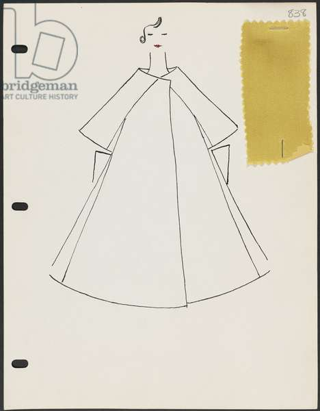 Page from sketchbook, Spring 1960, 1960 (pen & ink on paper with fabric)