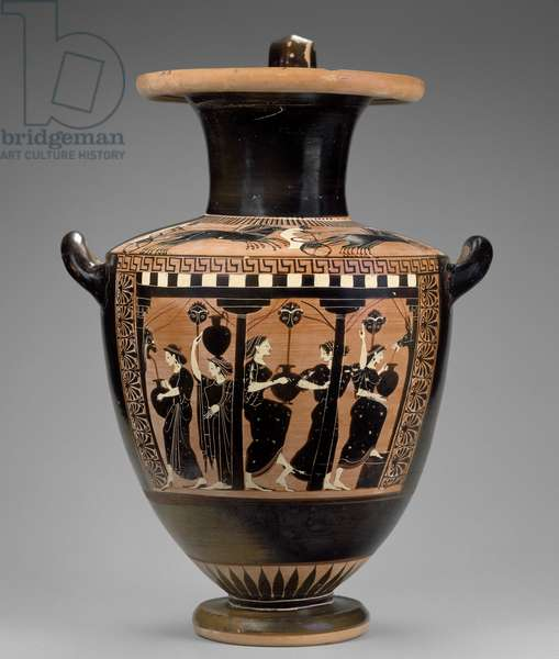 Black-figure water jar (hydria) with women at the fountain, Attica, Athens, Archaic Period, c.520 BC (ceramic)