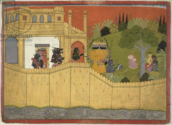 Ravana shows Sita the Counterfeit Head of Roma, from Guler, Punjab Hills, c.1725 (opaque w/c & gold on paper)
