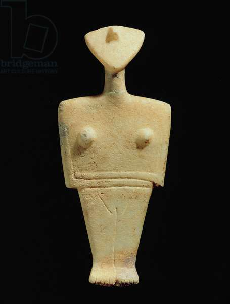 Female figure idol, Early Aegean, Cycladic, Bronze Age, c.2300-2000 BC, found in Cyclades, Greece (marble)