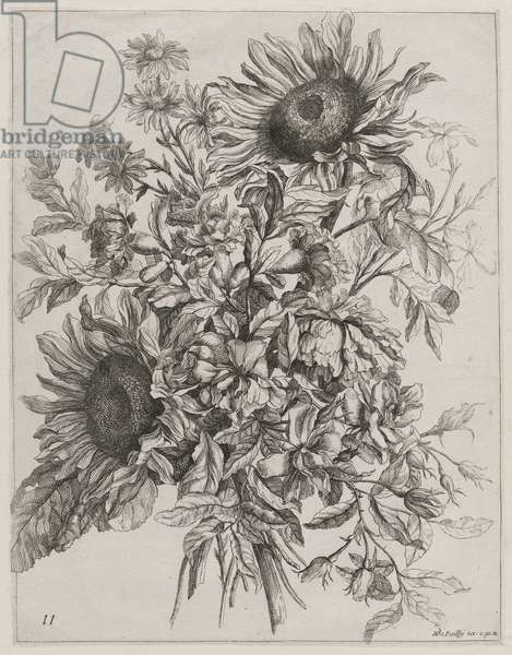 Bouquet with Sunflowers (etching)