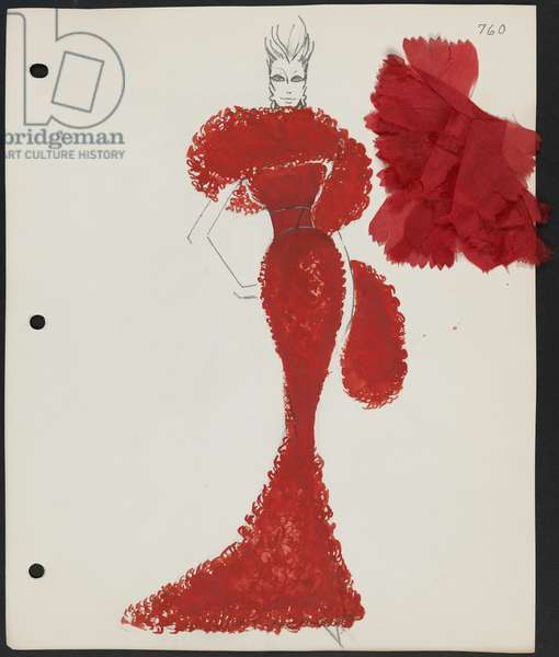 Page from sketchbook, Couture 1964, 1964 (w/c & pencil on paper with fabric)