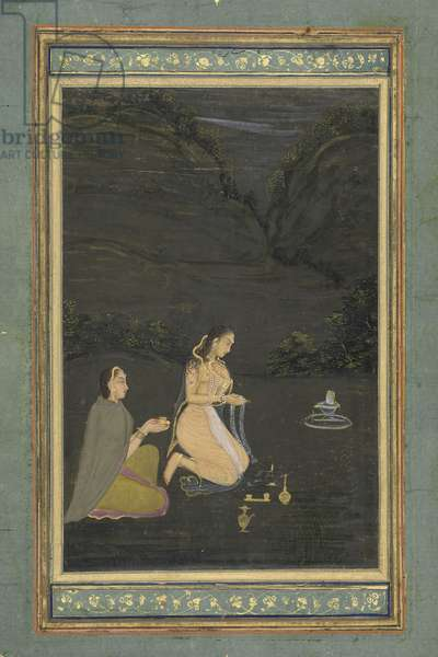 Women Worshipping the Shiva Lingam, from Northern India (opaque w/c & gold on paper)