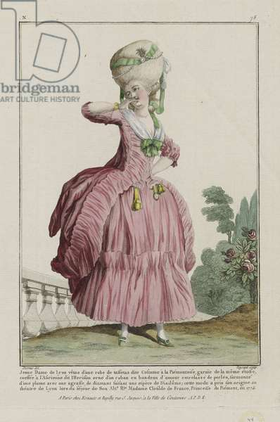 Young Lady of Lyon in a taffeta Piedmontese dress, from full title 'Gallerie des Modes et Costumes Francais', engraved by Etienne Claude Voysard, published by Esnauts et Rapilly, Paris, 1778 (hand-coloured engraving) (see 263932)